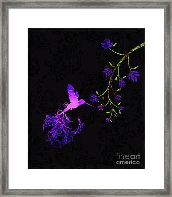 Purple Twilight Hummingbird Nature Batik Framed Print by Tina Lavoie