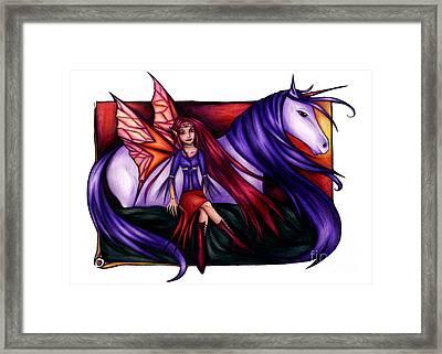 Purple Unicorn With Fairy Friend Framed Print
