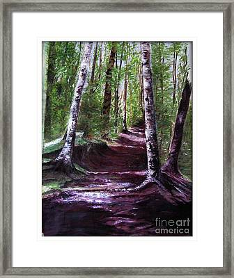Framed Print featuring the painting Purple Walk by Sibby S