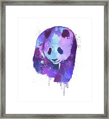 Purple Watercolor Panda Framed Print by Thubakabra