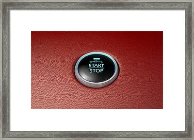 Push To Start Red Leather Button Framed Print