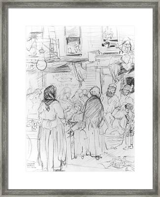 Pushcarts And Tenements Framed Print