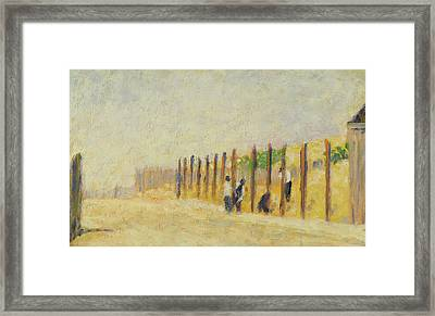 Pushing In The Poles Framed Print by Georges Pierre Seurat