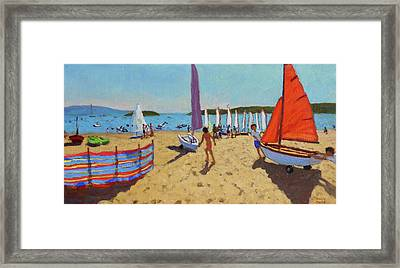 Pushing Out The Boat, Abersoch Framed Print by Andrew Macara