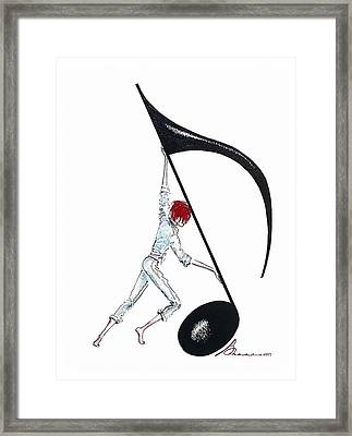 Pushing The High Note Framed Print