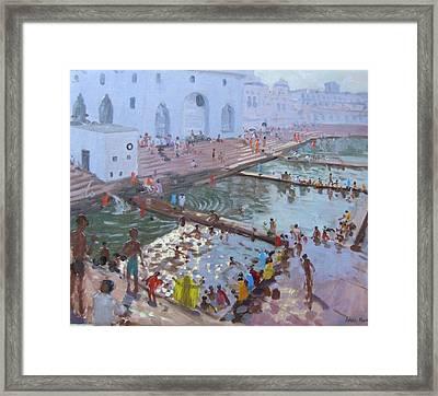 Pushkar Ghats Rajasthan Framed Print by Andrew Macara