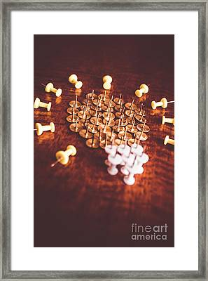Pushpins And Thumbtacks Arranged As Light Bulb Framed Print