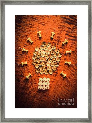 Pushpins Arranged In Light Bulb Icon Framed Print by Jorgo Photography - Wall Art Gallery