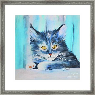 Framed Print featuring the painting Pussy Cat by Jutta Maria Pusl