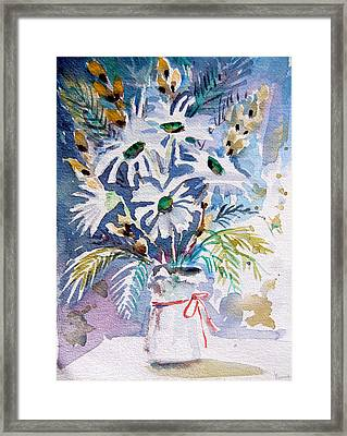 Pussy Willow And Daisies Framed Print by Mindy Newman