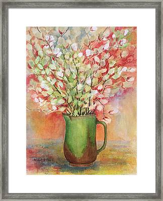 Pussy Willow And Pitcher Framed Print by Barbel Amos