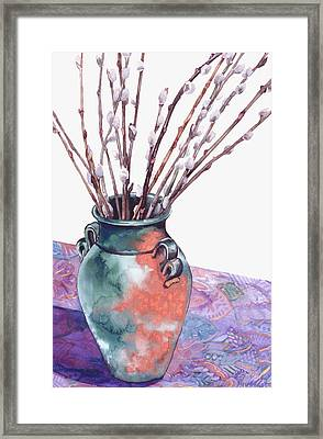 Pussy Willows Bouquet Framed Print by Caron Sloan Zuger