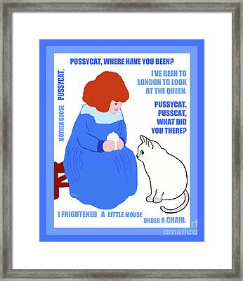 Framed Print featuring the painting  Pussycat, Pussycat By Mother Goose by Marian Cates