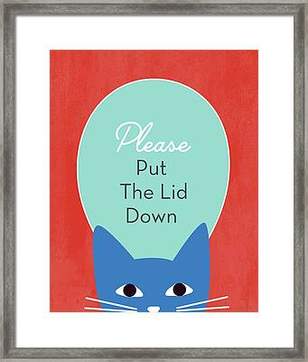 Put The Lid Down Cat- Art By Linda Woods Framed Print