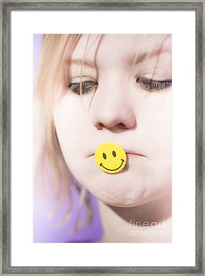 Putting On A Happy Face Framed Print