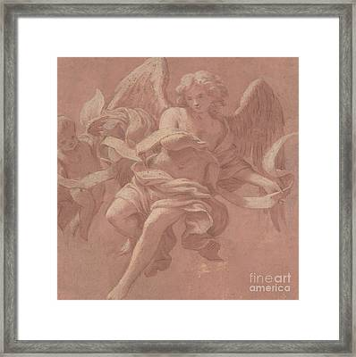 Putto And Angel Holding A Banderole, 1706  Framed Print by Antonio Franchi