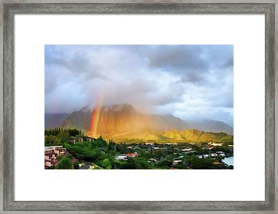 Puu Alii With Rainbow Framed Print