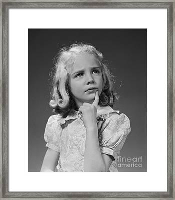 Puzzled Girl, C.1940s Framed Print
