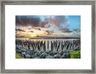 Framed Print featuring the photograph Pylons Mill Sunset by Greg Nyquist