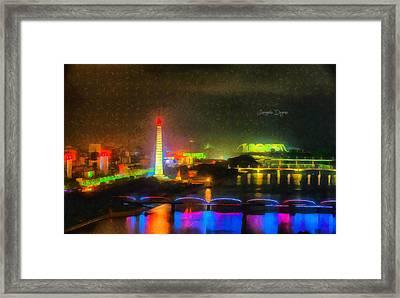 Pyongyang Night Scene - Da Framed Print by Leonardo Digenio