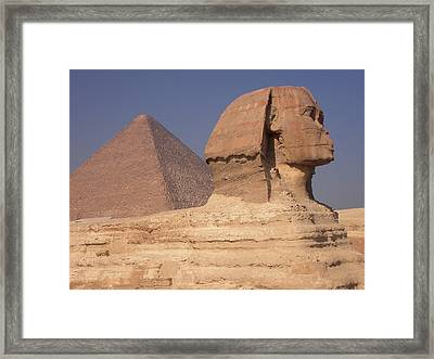 Pyramid And Sphinx Framed Print by Mary Lane