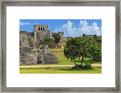 Framed Print featuring the photograph Pyramid El Castillo - Tulum Mayan Ruins - Mexico by Jason Politte