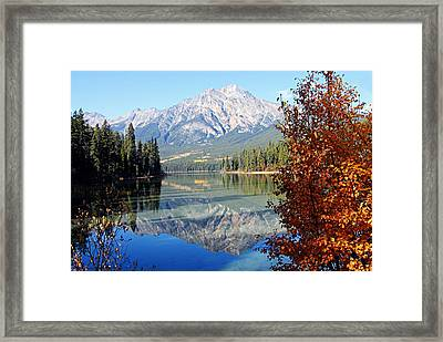 Pyramid Mountain Reflection 3 Framed Print by Larry Ricker