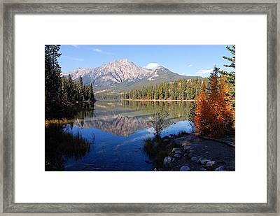 Pyramid Moutain Reflection Framed Print by Larry Ricker