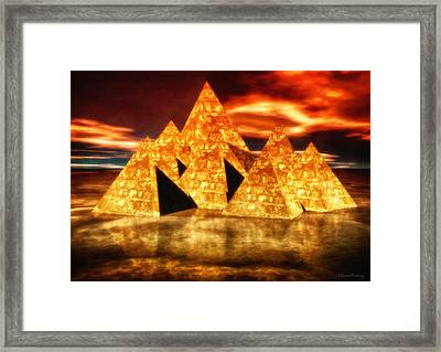 Pyramids In Warm Tones Framed Print
