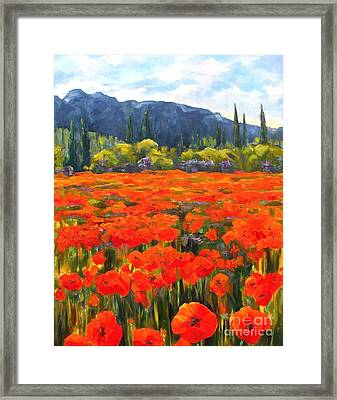 Pyrenees Poppies Framed Print by Diane Daigle