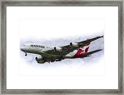 Qantas Airbus A380 Art Framed Print