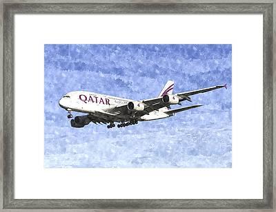 Qatar Airlines Airbus A380 Watercolour Framed Print