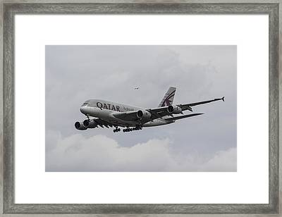 Qatar Airlines Airbus And Seagull Escort Framed Print by David Pyatt