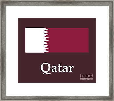 Qatar Flag And Name Framed Print by Frederick Holiday