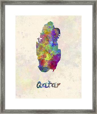Qatar In Watercolor Framed Print by Pablo Romero