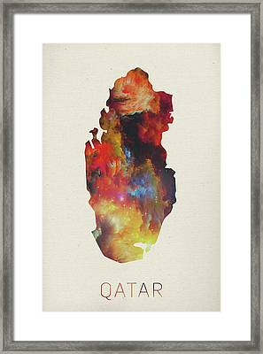 Qatar Watercolor Map Framed Print