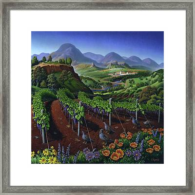 Quail Strolling Along Vineyard Wine Country Landscape - Square Format - Folk Art - Viticulture Framed Print