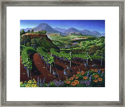 Quail Strolling Along Vineyard Wine Country Landscape - Vintage Americana Framed Print