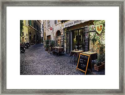 Quaint Cobblestones Streets In Rome, Italy Framed Print