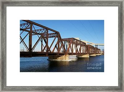 Quaker Oats Old Railway Bridge Framed Print by Marsha Heiken