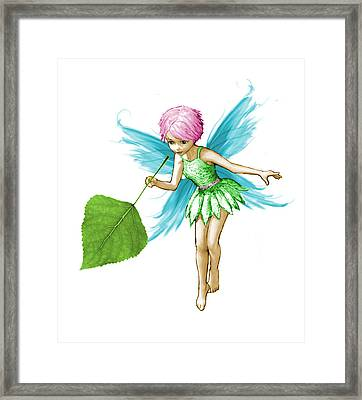 Quaking Aspen Tree Fairy Holding Leaf Framed Print
