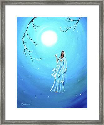 Quan Yin In Teal Moonlight Framed Print