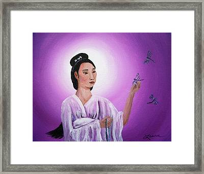 Quan Yin With Three Dragonflies Framed Print by Laura Iverson