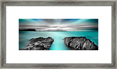 Quantum Divide Panorama Framed Print by Az Jackson