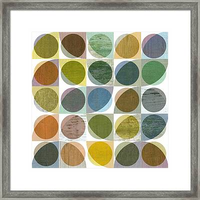Framed Print featuring the digital art Quarter Circles Layer Project Three by Michelle Calkins