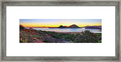 Quartz Mountains And Lake Altus Panorama - Oklahoma Framed Print