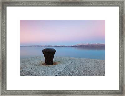 Quay In Dawn Framed Print