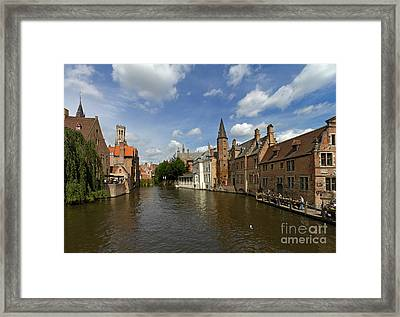 Quay Of The Rosary In Bruges Belgium Framed Print by Louise Heusinkveld