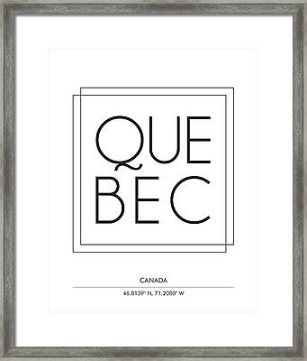 Quebec City Print With Coordinates Framed Print