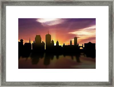 Quebec Skyline Sunset Caqcqc22 Framed Print by Aged Pixel